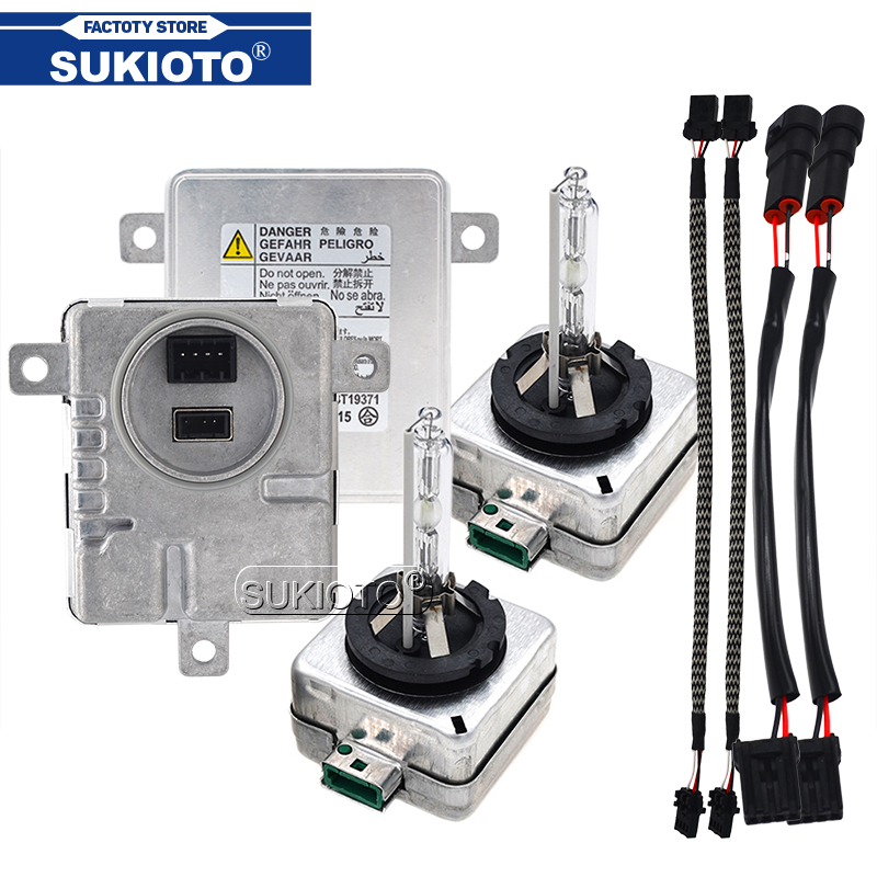 SUKIOTO Original 55W <font><b>Xenon</b></font> D3S HID Ballast Kit <font><b>Xenon</b></font> <font><b>D1S</b></font> <font><b>6000K</b></font> 8000K 5000K 4300K D1R D3R Car Light Bulb Lamp For A3 A6 MK2 Q5 Q7 image