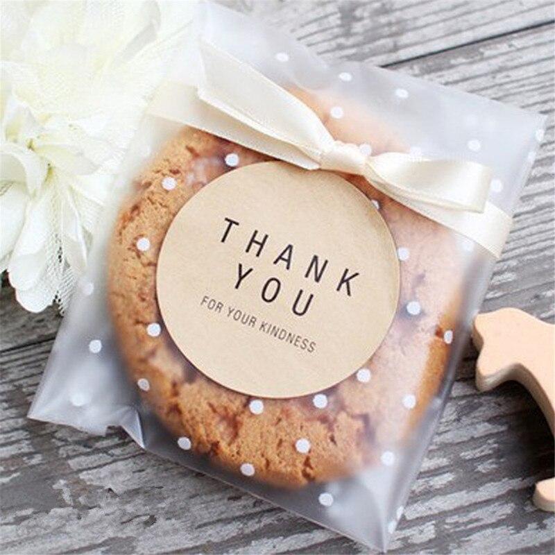 100pc Self Sealing Geschenk Tasche Goodie Cookie Verpackung Lebensmittel Kuchen Paket Selbstklebende Welle Punkt Transparente Beutel Verpackung Suppliy