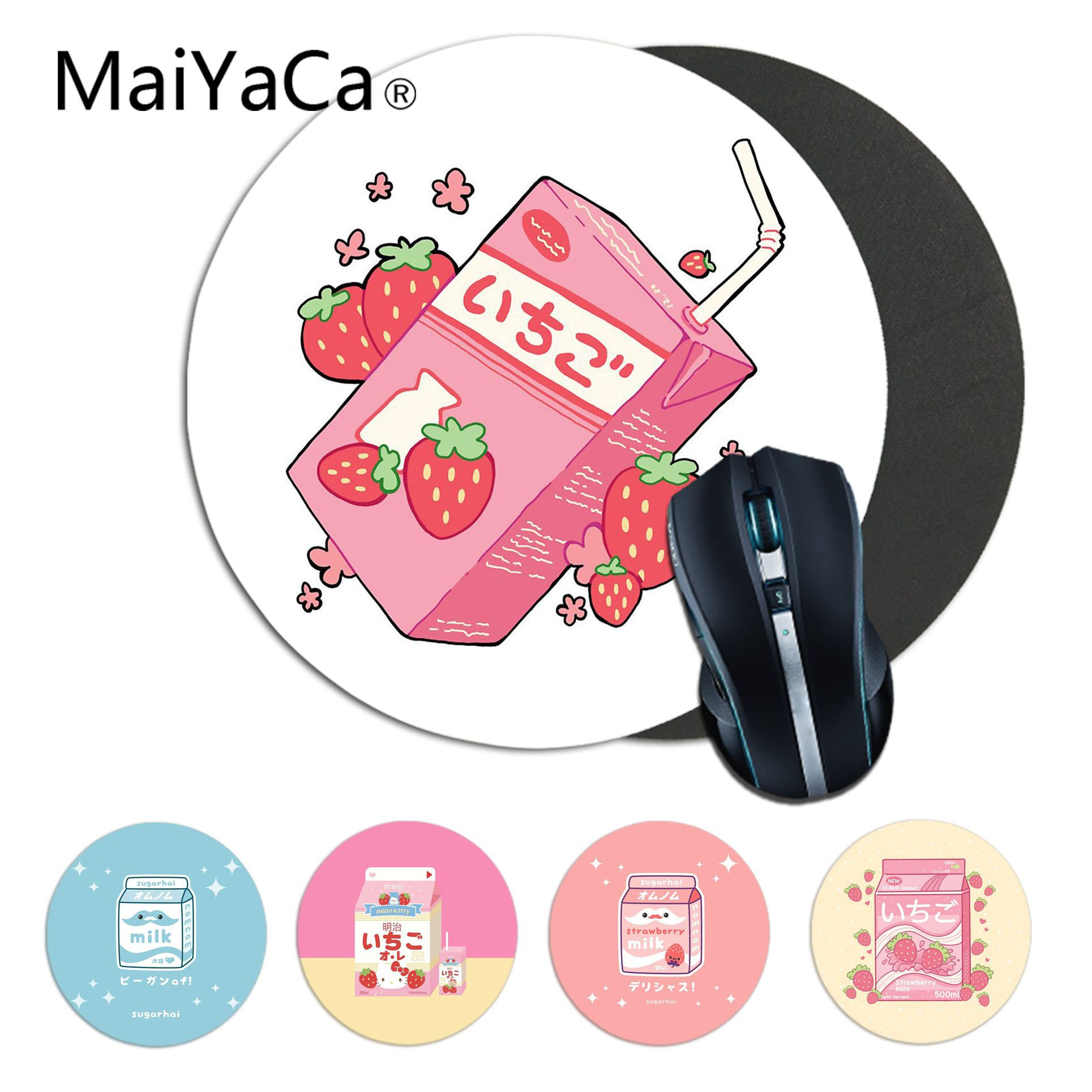 MaiYaCa Kawaii Japanese Strawberry Milk pattern Rubber PC Computer Gaming mousepad Rug For PC Laptop Notebook gamer desk pad(China)