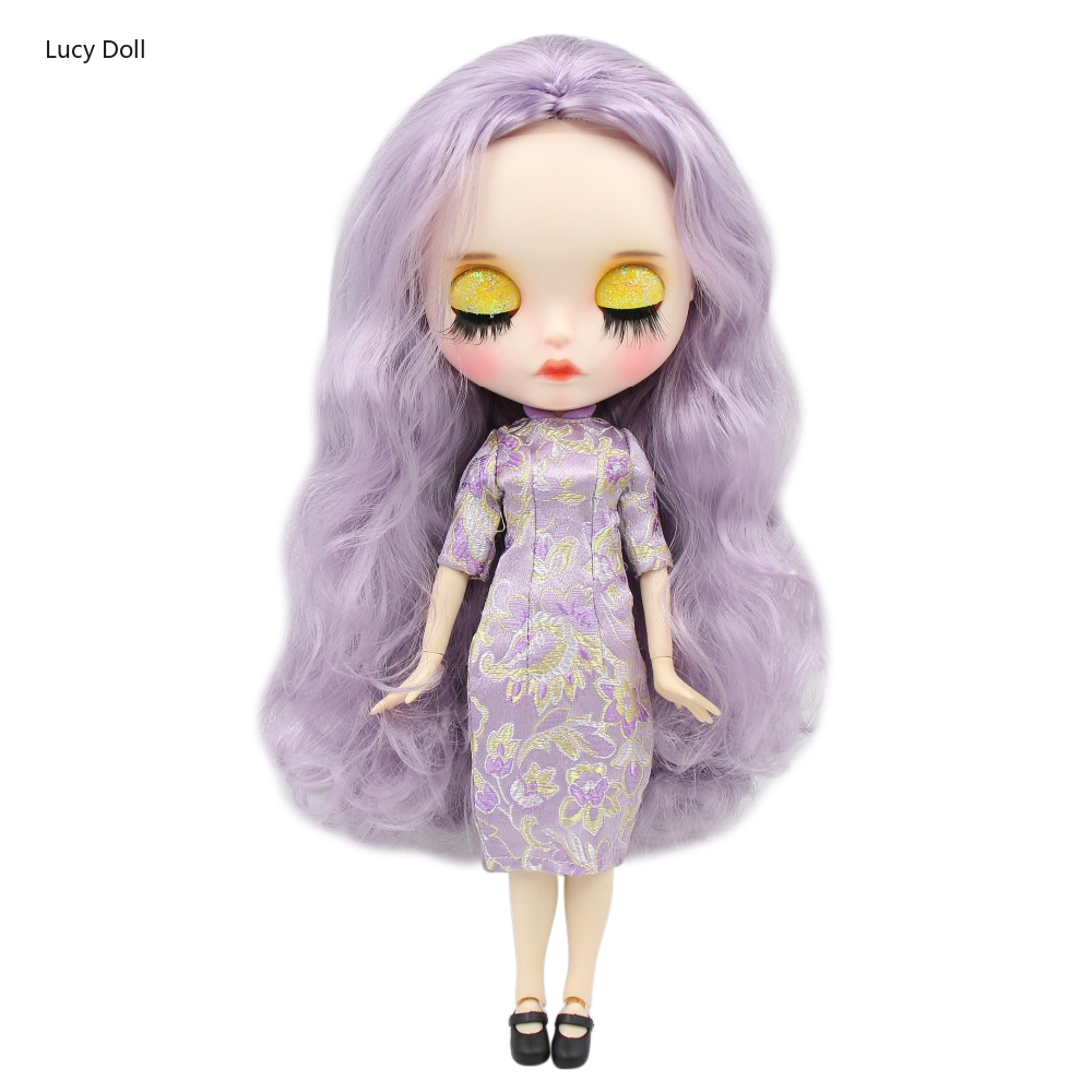 Factory Blythee Doll 1/6 Bjd Joint Body White Skin Carved Lips Matte Face With Eyebrow Customized Face Sleepy Eyes 30cm BL1049