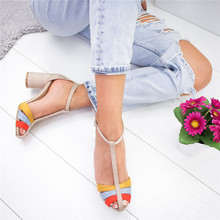 цена Strap Heel Peep Toe Sandals Chunky High Heel Ladies Sandals Slip On Elastic Bandage Elegant Sandals Sandalias Mujer 2020 онлайн в 2017 году
