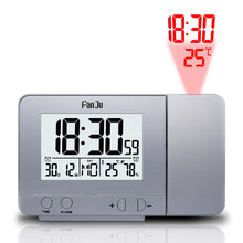 Fanju FJ3531 Proyektor Digital Alarm Clock LED Elektronik Tabel Tunda Lampu Latar Suhu Kelembaban Watch dengan Waktu Proyeksi(China)