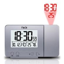 FanJu FJ3531 dijital projektör çalar saat LED elektronik masa erteleme arka sıcaklık nem izle zaman projeksiyon