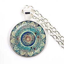 Charm Mandala Art Picture Necklace Henna Yoga Om Symbol Zen Buddhism 25mm Glass Cabochon Pendant Jewellery For Women Girls Gift(China)