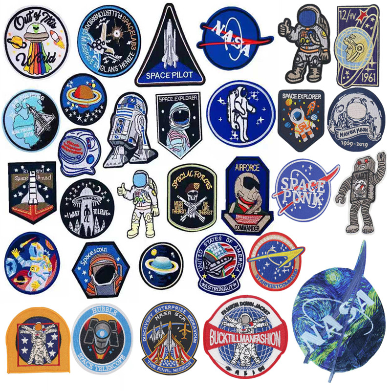 Space Pilot Patch On Clothing Air Policing DIY Iron On Embroidered Patches For Badge Stickers Jackets T-shirt Accessories