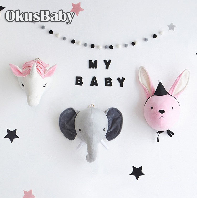 2019 Creative Nordic Wall Hanging Unicorn Elephant Animal Head Euro Style Plush Toy Doll For Baby Room Decoration Children Gift