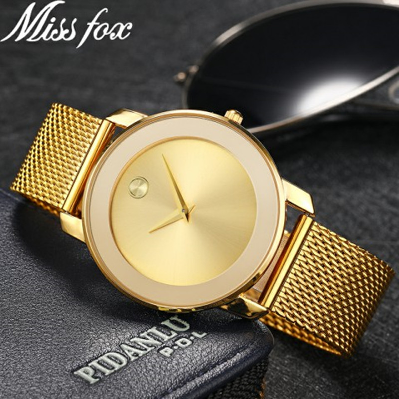 MISSFOX Bold Yellow Gold Ion-Plated Stainless Steel Case Gold Dial Gold Ion-Plated Stainless Steel Mesh <font><b>Bracelet</b></font> <font><b>Unisex</b></font> <font><b>Watch</b></font> image