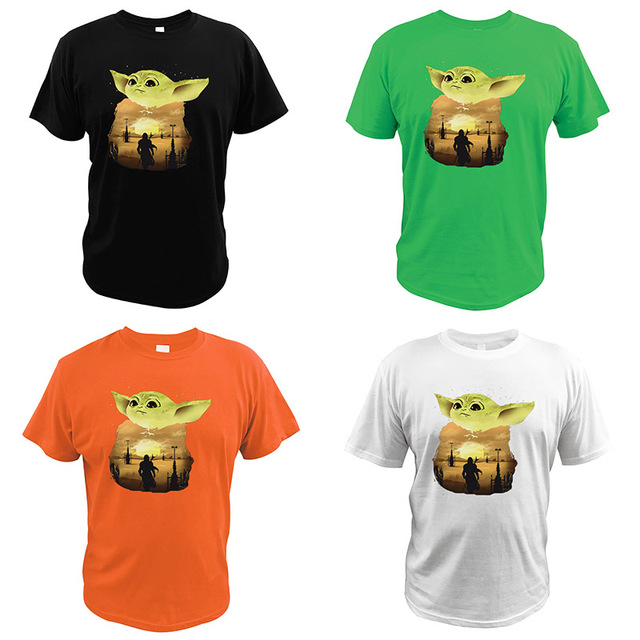 T-shirt Yoda Star Wars Science Fiction Movies Sunset EU Size Tshirt High Quality O-neck Casual Tops