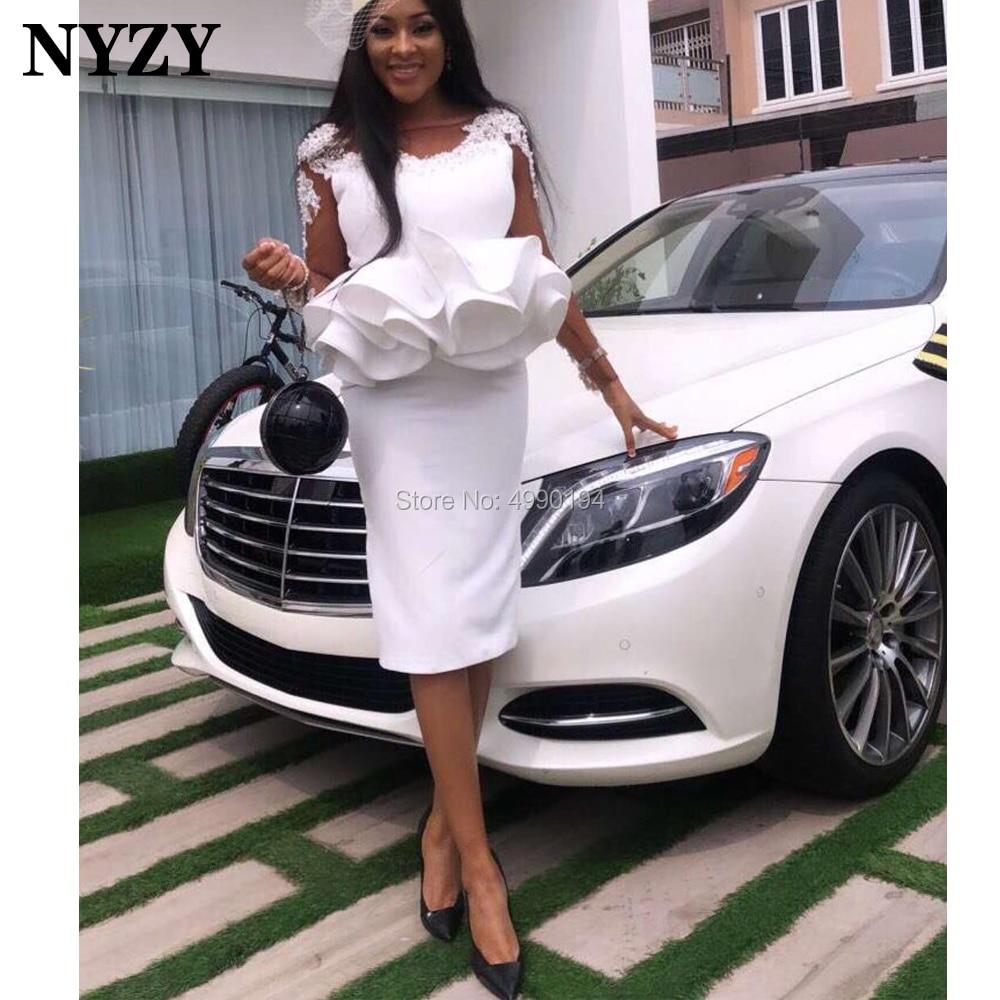NYZY C259 Elegant Satin Lace Appliques Long Sleeves White Party Gown Cocktail Dresses 2020 Vestido Noite Robe De Soiree