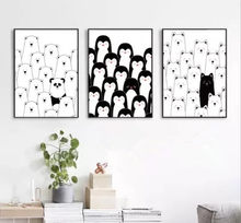 Black and White Decoration Painting for Children Room Wall Pictures for Living Room Kitchen Anime Poster Penguin Herd Not Framed(China)