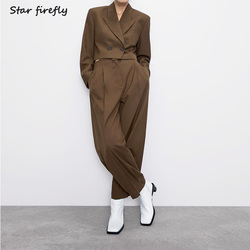 Звезда Светлячок официальный Блейзер брюки два комплекта для женщин 2019 Короткий Повседневный костюм пиджак Высокая талия плиссированные ш...
