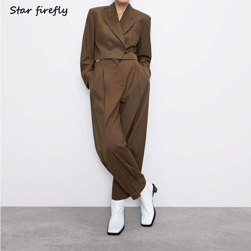 Star Firefly Official Blazer Pants Two Sets Women 2019 Short Casual Suit Jacket High Waist Pleated Wide Leg Pants Suit