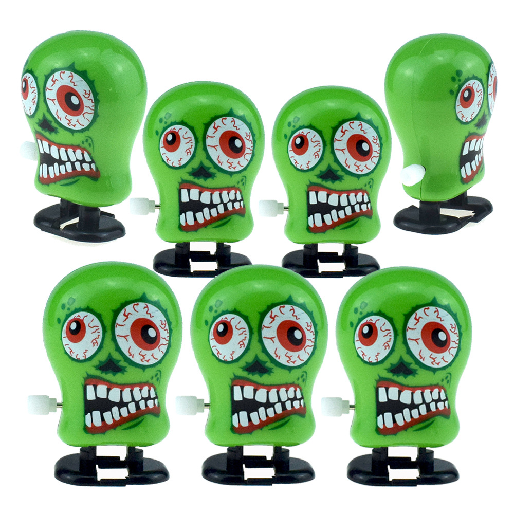 Novelty Funny Three-Spring-Winding Will Go Green Demon Head Ghosts Model Halloween Toy Small Gifts