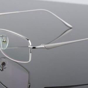 Image 5 - New Semi Rim Pure Titanium Eyeglasses Frame for Men Optical Glasses Frame Prescription Half rim Eyewear Business Spectacles