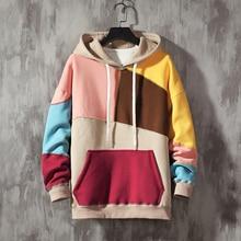 Plus Velvet Padded Hoodies Men Warm Fashion Contrast Color Casual Hooded Pullover Hip Hop Hoodie Streetwear Loose Sweatshirt