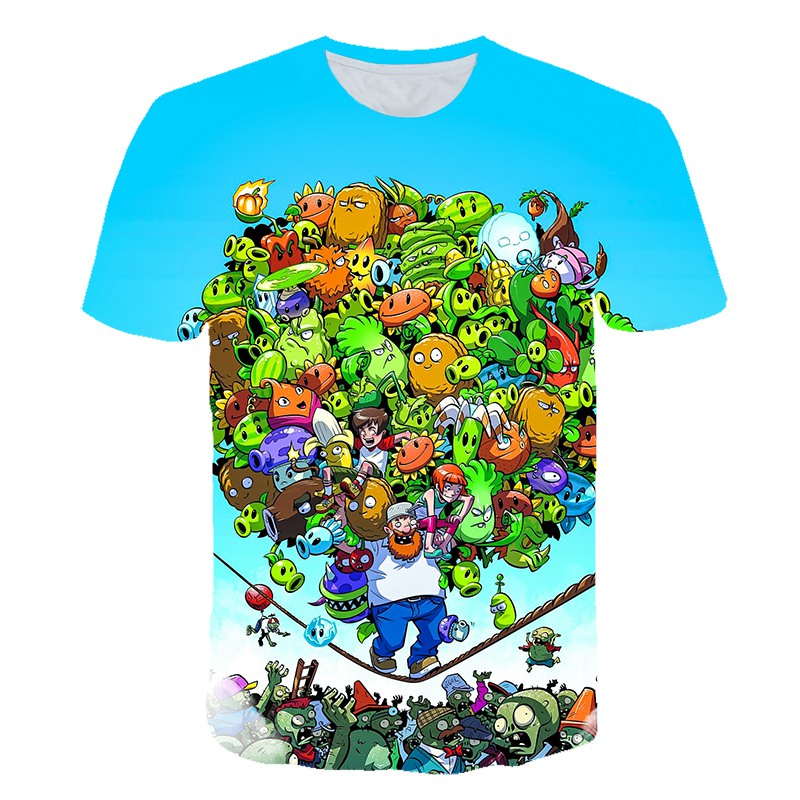 Children T Shirts Plants Vs Zombies Wars Boys Clothing Cartoon Game Pattern Boys Clothes Kids O-Neck T-shirt Summer Tops 4-14T