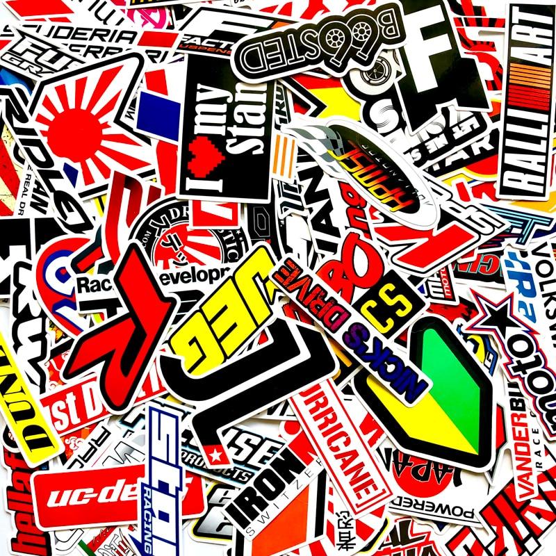 100PCS Racing Car Stickers Waterproof Sticker DIY Motocross Racing Helmet Skateboard Bicycle Laptop PVC JDM Luggage