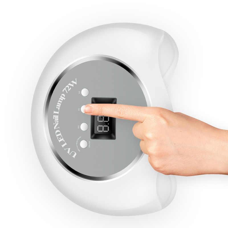 שתי יד UV LED נייל מנורת מייבש 72W 36 נוריות גבוהה אבקת מנורת לציפורניים מהיר ריפוי ציפורניים ג 'ל מקצועי נייל מייבש מניקור כלי