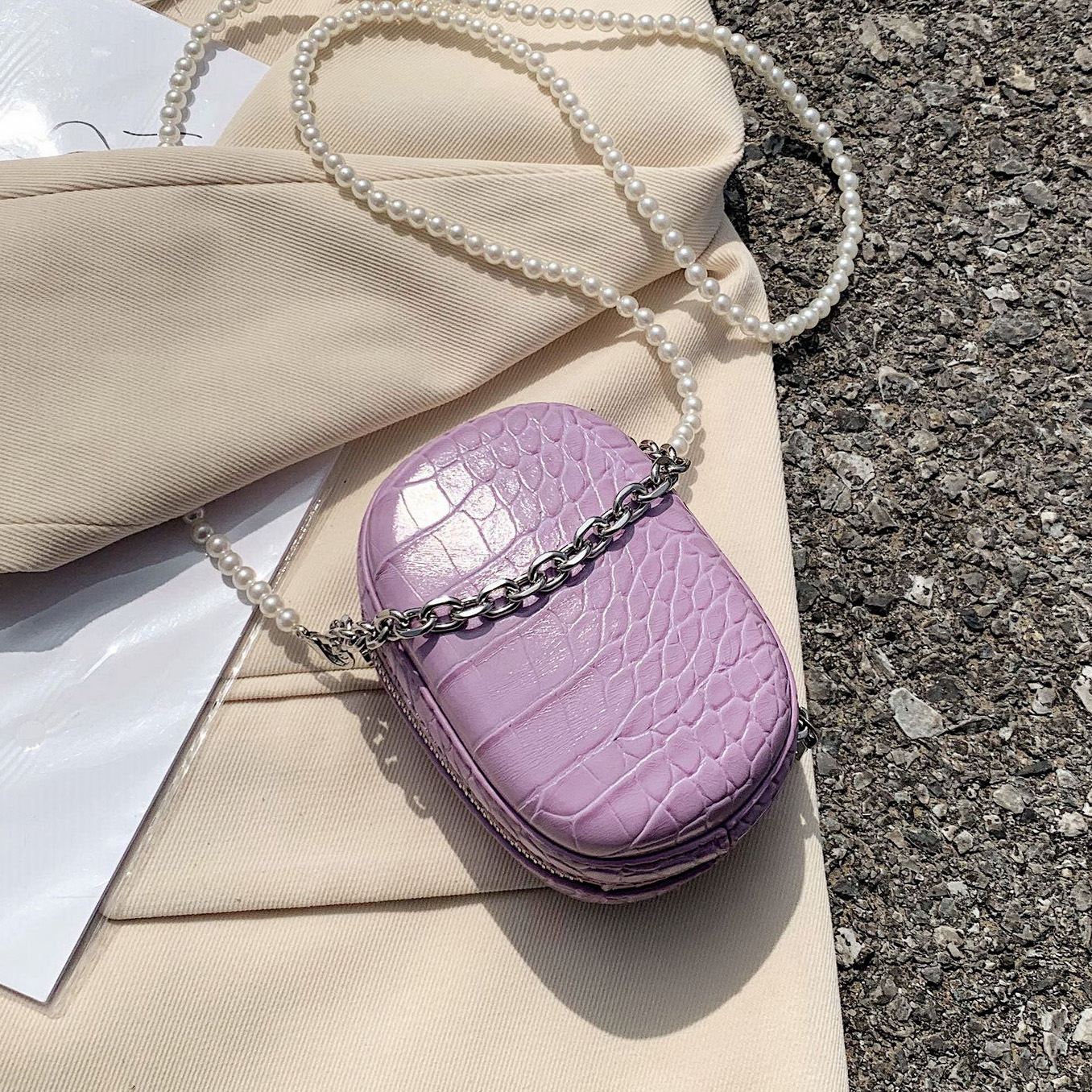 Mini Box Design Crocodile Pattern PU Leather Crossbody Bags For Women 2020 Summer Shoulder Handbags With Pearl Shoulder Belt