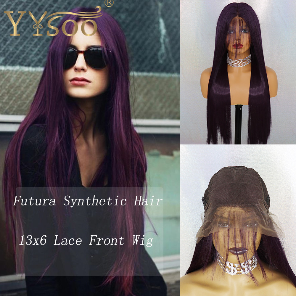 YYsoo 13x6 Long Silky Straight Purple Futura Synthetic Lace Front Wigs With BabyHair For Women Ombre Purple Soft&Smooth Lace Wig
