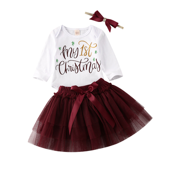 2019 My 1st Christmas Baby Girls Outfits Tops Romper+Tutu Skirt Clothes UK[My 3Pcs Set 3-6 Months]
