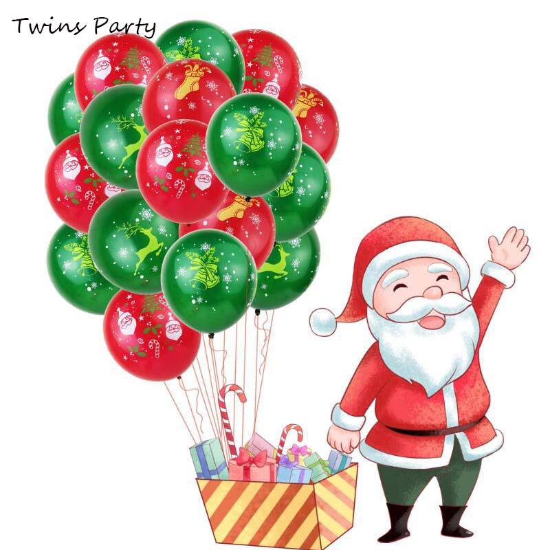 Twins Party 15pcs Christmas Balloons Tree Stocking Bell Decorations Happy New Year 2020