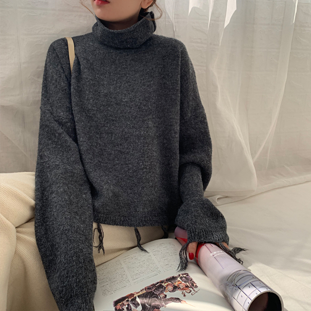 Ailegogo New Autumn Winter Women Sweater Casual Female Tassel Loose Fit Knitted Pullovers Turtleneck Short Ladies Knitwear Tops 3