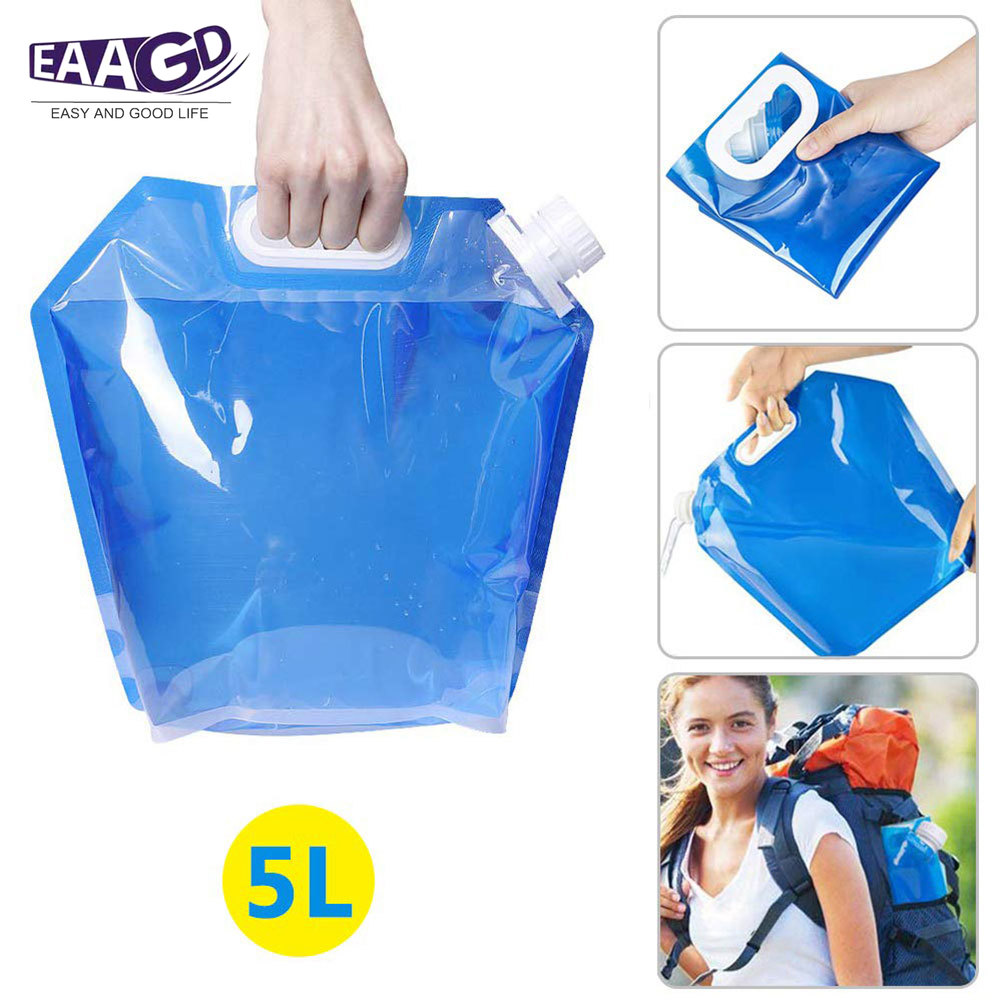 1Pcs 5L Foldable Plastic Kettle Water Carrier, Collapsible Water Container Portable Water Storage Tank Carriers For Camping