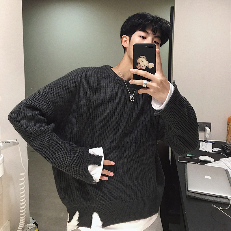 Winter Sweater Men's Warm Fashion Solid Color Casual Fake Two-piece Knit Pullover Man Streetwear Wild Loose Long-sleeved Sweater