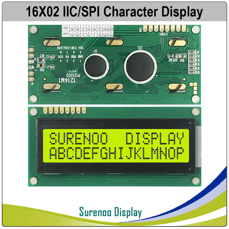 Serial I2C/IIC/SPI Interface 162 16X2 1602 Character LCD Module Display Screen LCM With Yellow Green Backlight