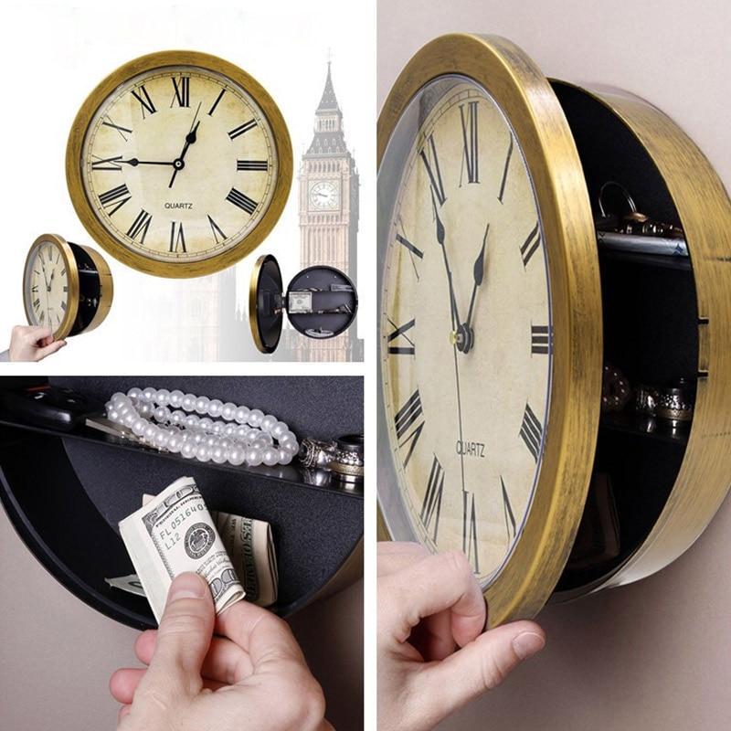 Wall Clock Safe Box Creative Retro Hidden Secret Storage Box Cash Money Jewelry Home Office Security Clock Style Safe