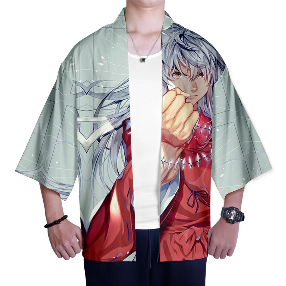 Image 3 - Japanese kimono Inuyasha Mens Womens Wear 3D Kimono Traditional Clothing Fashion Popular Family Casual Wear Comfort TopsAsia & Pacific Islands Clothing   -