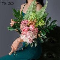 YO CHO Bride Wedding Bouquet Photography Wedding Supplies Artificial Silk Rose Hydrangea Flower Cycas Baby's Breath Forest Style