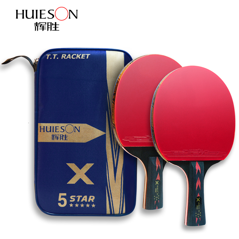 HUIESON 5 Star Table Tennis Racket Set Ping Pong Paddle Bat Premium Carbon Fiber Short Handle Long Handle With Bag For Children