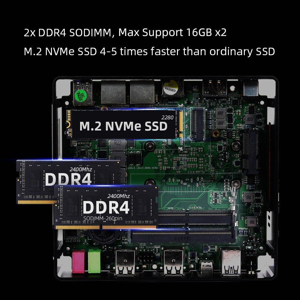 XCY X41 Mini PC 10th Gen Intel Core i7 10510U DDR4 M.2 SSD 8*USB HDMI DP 4K 60fps 2*LAN Type-C WiFi Bluetooth Windows 10 HTPC-3