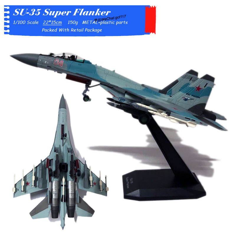 HOT-BIOODED 1/100 Scale Russian SU-35 Super Flanker Fighter Diecast Metal Plane Model Toy For Gift,Kids,Collection