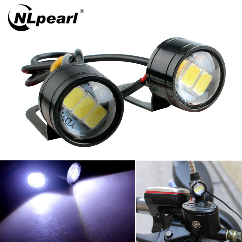 NLpearl 2pcs 12V LED Eagle Eye Car DRL Daytime Running Lights Backup Reversing Parking Signal Lamp For Moto Car Light Assembly