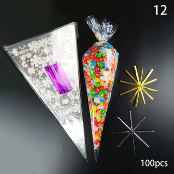 100pcs Transparent Candy Packing Bags Wedding Birthday Party Decoration Sweet Cellophane Bag Cone Storage Packaging - discount item  30% OFF Festive & Party Supplies
