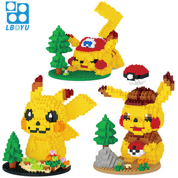 7122A Cartoon Pikachuly Building Blocks Cute Scene Pokemoned Mini Figure Assembled Mirco Bricks Toys For Collection 676pcs+ 1