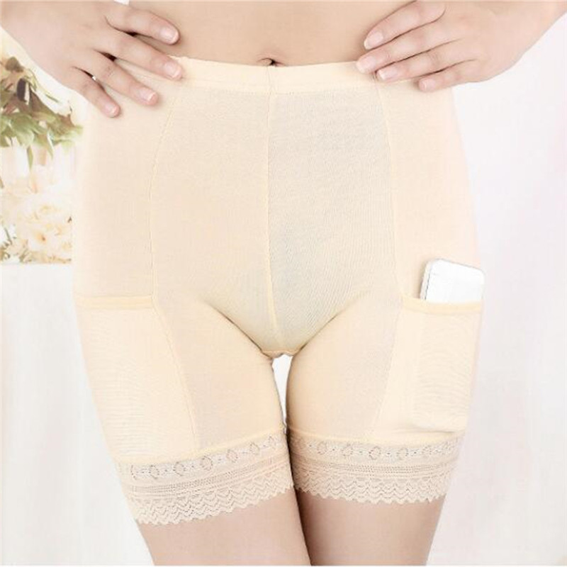 Spring And Summer Women Safety Short Pantswith Packet High Waist Safety Short Pants Safety Women Panties Lace Solid Female