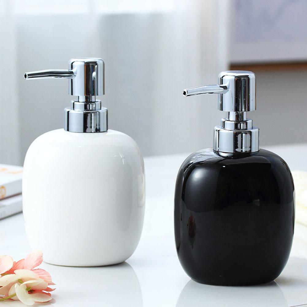 450ml Ceramic Liquid Soap Dispenser Pump Refillable Liquid Lotion Dispenser Empty Bottle Bathroom Shmpoo Gel Dispenser Pump