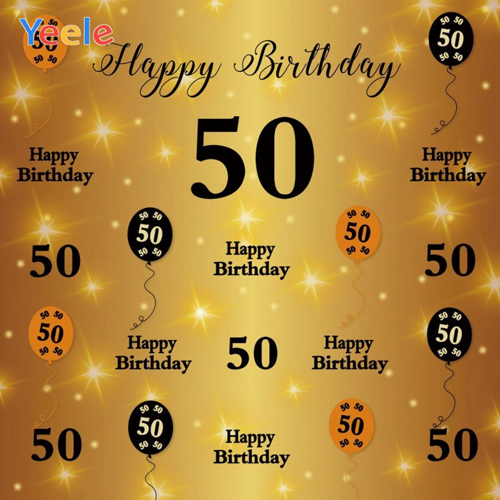 Yeele <font><b>Happy</b></font> <font><b>50th</b></font> <font><b>Birthday</b></font> Party <font><b>Backdrop</b></font> Golden Light Bokeh Balloon Photography Background For Photo Studio Photophone Photocall image