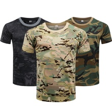 Camouflage Tactical Shirt Short Sleeve Men's Quick Dry Combat Military Army T-Shirt Camo Outdoor Hiking Hunting Shirt Black Camo