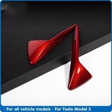 FDIK Car Body Camera Protective Cover For Tesla Model 3 S X Y Real Red Carbon Fiber Accessories 2020 Model3 Three 2Pcs /Set