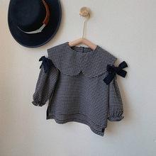 2021 nova primavera estilo coreano bebê meninas xadrez blusas bowknot peter-pan collar crianças topos camisas