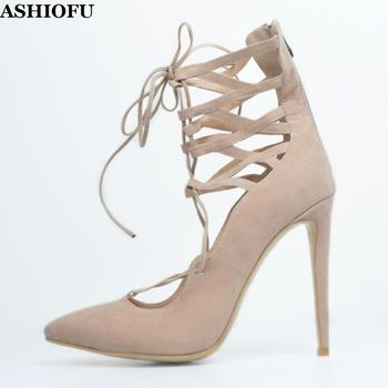 ASHIOFU Handmade Ladies High Heel Pumps Kid-suede Cross-straps Party Prom Dress Shoes Daily Wear Casual Evening Fashion Shoes