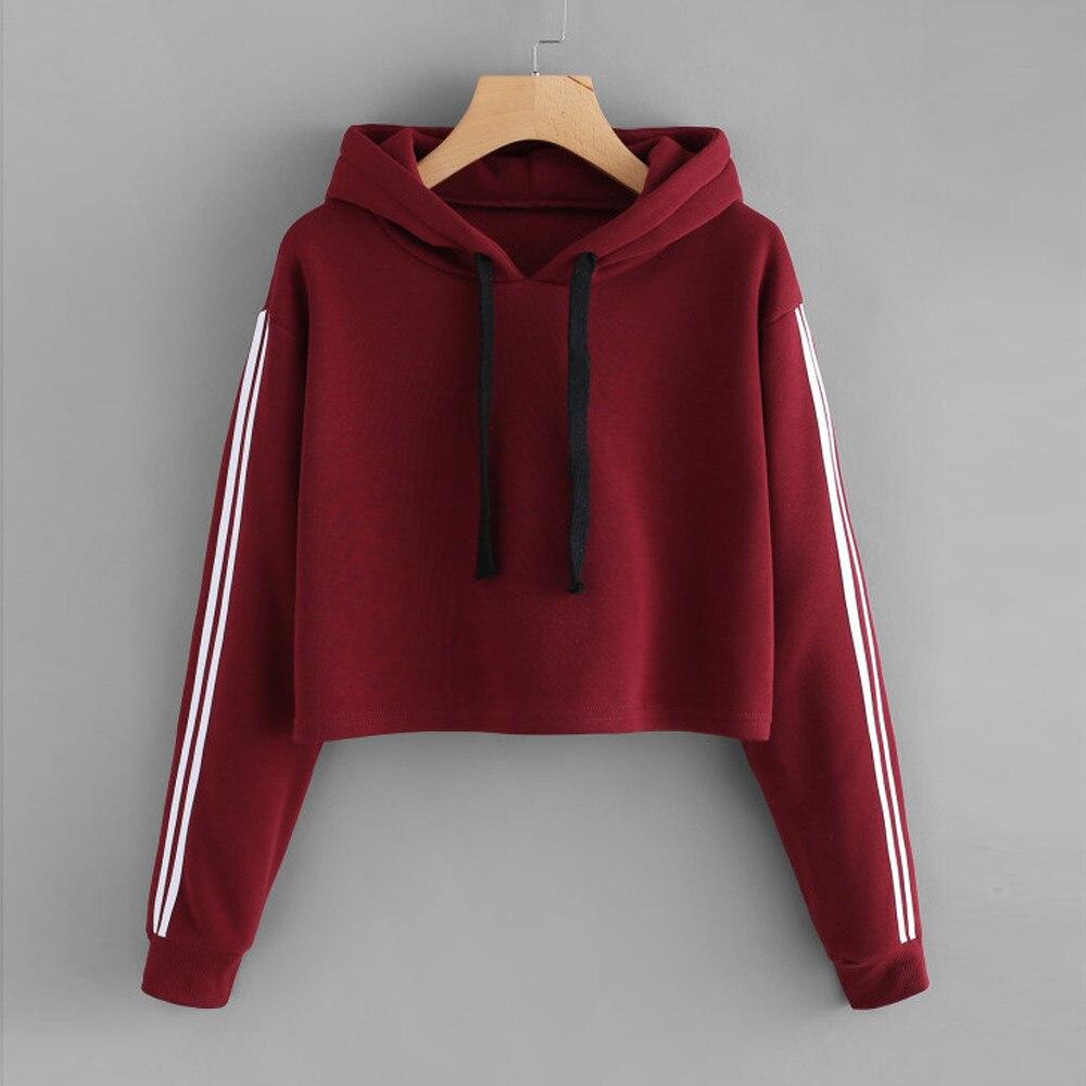 Sweatshirt Hoodie Womens Striped Long Sleeve Hoodie Jumper Hooded Warm Pullover Tops bts-bangtan hoodies Blouse kpop