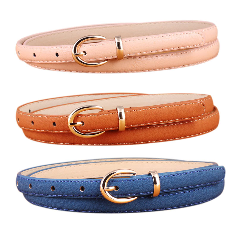 2019 Fashion Candy Color PU Leather Thin Belt For Women Gold Metal Pin Buckle Simple Waist Belts For Ladies Dress Jeans Ceinture