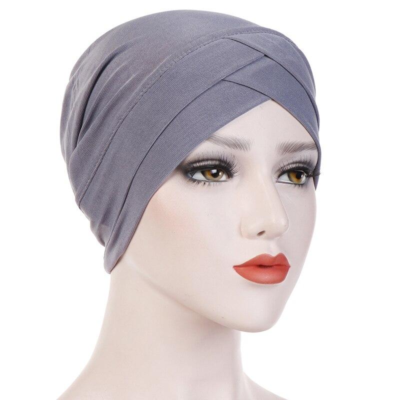 Siskakia Inner Hijab Cap Cotton Muslim Women's Head Scarf Islamic Cross Headband Turban Headwrap Hairband Hair Loss Hat Solid