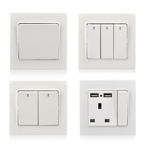 Wholesale push light switch wall panel wire control AC 110V 220V 86 type on/off PC white switch with neon sound activated on off switch by hand clap 110v electronic gadget white